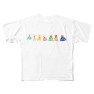 うさぎのプリン Full graphic T-shirts