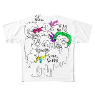 惨劇の三猿【フル】 Full graphic T-shirts