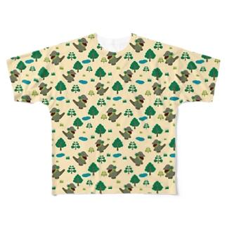 モッコメリアンパターン-緑 フルグラフィックTシャツ