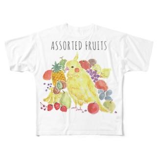 フルーツインコ Full graphic T-shirts