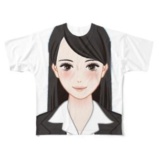 美人 美女 女子 スーツ 証明写真 Full graphic T-shirts
