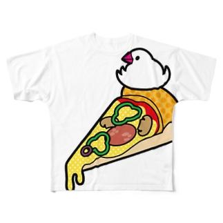 ピザで暖をとる文鳥(素材が濃い色用) Full graphic T-shirts