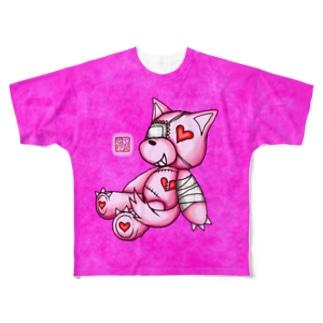 """❀花狐庵❀ """"Heart♡Wolf!!"""" Full graphic T-shirts"""