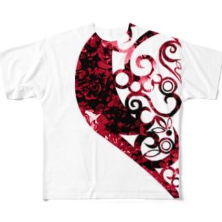 欠損少女赤 フルグラフィックTシャツ