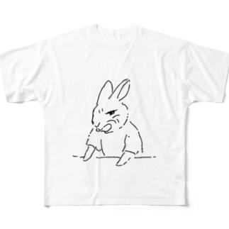 うさぎむすこ(黒2) Full graphic T-shirts