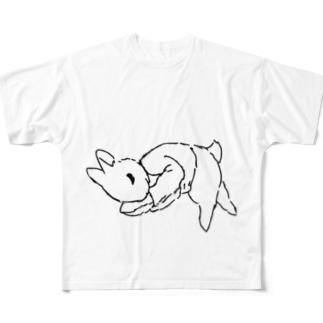 うさぎむすこ(黒6) フルグラフィックTシャツ