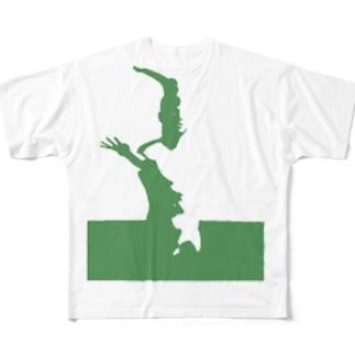 歪な石膏シリーズ・緑 Full graphic T-shirts
