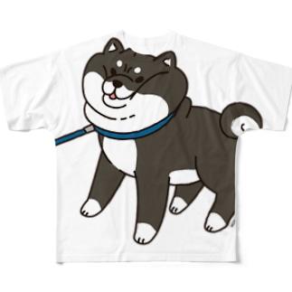 散歩から帰りたくない黒柴フルグラフィックTシャツ(ホワイト) フルグラフィックTシャツ フルグラフィックTシャツ