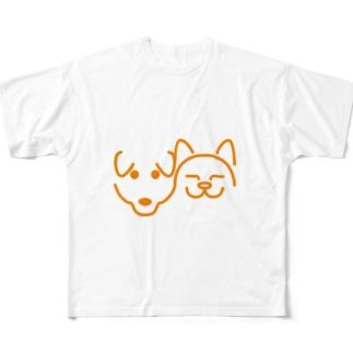 犬と猫 フルグラフィックTシャツ