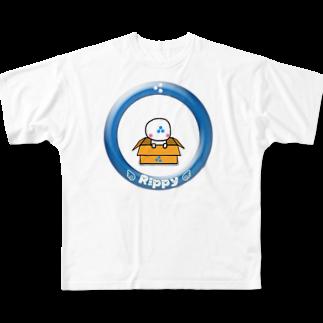 ビケ@BKF48 補欠のりっぴぃくんダンボールバージョン フルグラフィックTシャツ