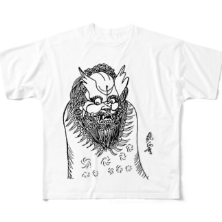 JUNSEN(純仙)唐獅子 平成の夜風を浴びて 単色 Full graphic T-shirts