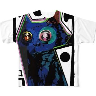 黒猫ココno.3 Full graphic T-shirts
