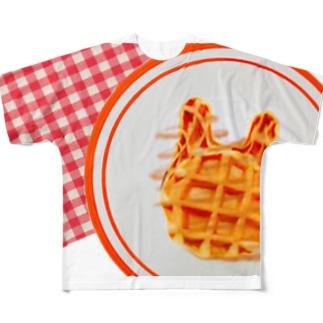 うさぎ わふー ぴくにっこ Full graphic T-shirts