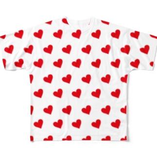 ハートが沢山 Full graphic T-shirts
