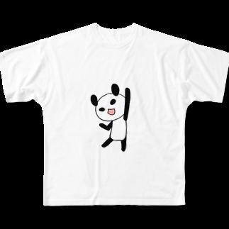 Tea Drop Sのやる気に満ちたパンダ Full graphic T-shirts