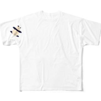 袖にパンダ フルグラフィックTシャツ
