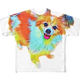 世界一可愛いパピヨン Full graphic T-shirts