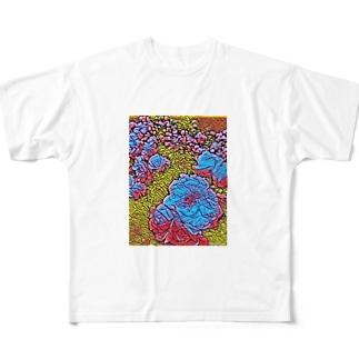 青バラ Full graphic T-shirts