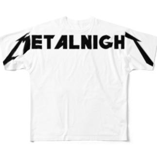 メタルナイト 黒ロゴ Full graphic T-shirts