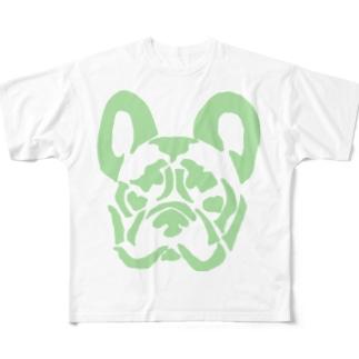 フレンチブルドッグ_GREEN フルグラフィックTシャツ