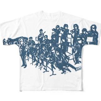 big bandシャツ(青) Full graphic T-shirts