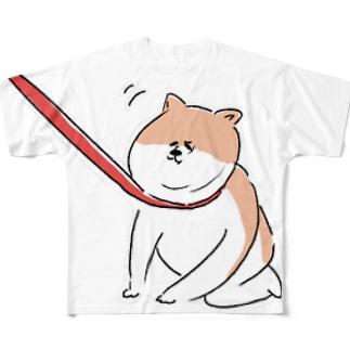 散歩イヤイヤワンちゃん Full graphic T-shirts