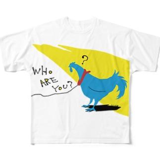 ニワトリさんとハテナ Full graphic T-shirts