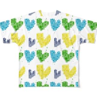 青と黄色と緑のハートグッズ好きな人のためのグッズ。 Full graphic T-shirts