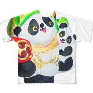 招福あっぱれ大黒パンダ親子 Full graphic T-shirts