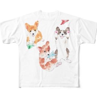 ワンコと紙飛行機 フルグラフィックTシャツ
