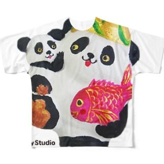 あっぱれ恵比寿パンダ親子 Full graphic T-shirts