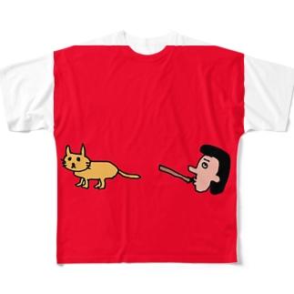 笛を吹く岩崎さんとネコ フルグラフィックTシャツ