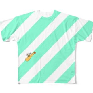 宇宙ネコ エビフライスライダー Full graphic T-shirts