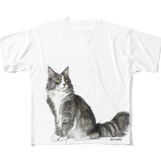 ノルウエージャンフォレストキャットのヤマトくん Full graphic T-shirts