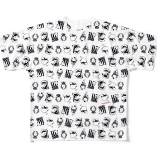 オバケちゃん総柄 フルグラフィックTシャツ