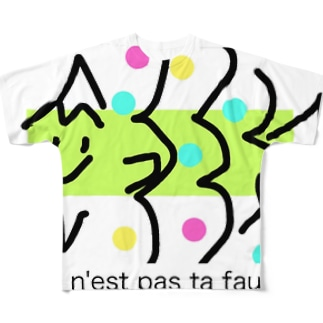 フランスのカワイイお魚さん フルグラフィックTシャツ