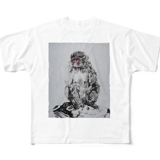 瞑想ニホンザル2018 Full graphic T-shirts
