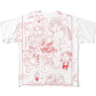 ためしがき赤 フルグラフィックTシャツ