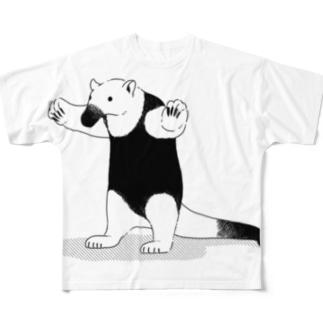 威嚇するコアリクイ Full graphic T-shirts