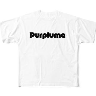 maru-moji-center-purplume Full graphic T-shirts