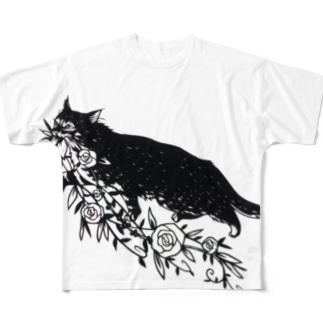 花咥え猫 Full graphic T-shirts