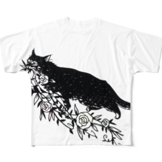 花咥え猫 Full graphic T-shirts