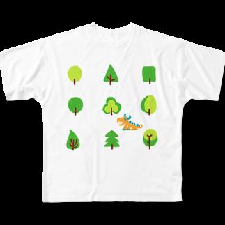 zentoyのwoods and dragonフルグラフィックTシャツ