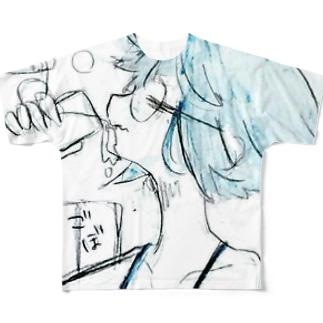 水道水飲む子 Full graphic T-shirts