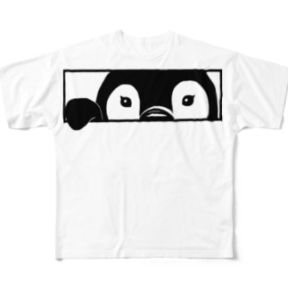小窓からじっと見てくるペンギンヒナ Full graphic T-shirts