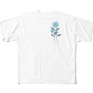 廃退の薔薇[水色] Full graphic T-shirts