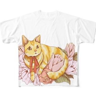 猫とお花 フルグラフィックTシャツ