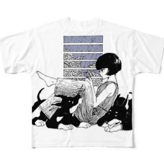雨と紫陽花、ドーベルマン Full graphic T-shirts