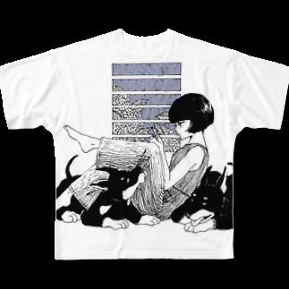 ふじはら ろくの雨と紫陽花、ドーベルマン Full graphic T-shirts
