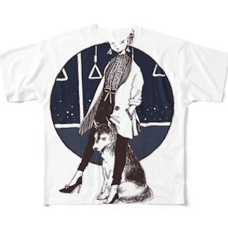 夜のハスキー犬 フルグラフィックTシャツ